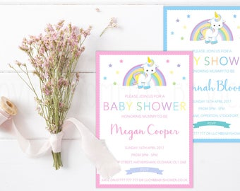 Unicorn Themed Baby Shower Invitations with Envelopes