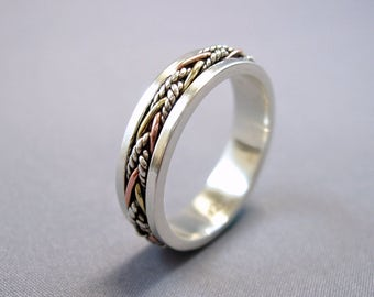 """Energy Stone """"TWINE"""" Narrow Band Tri-Color Twine Wires Meditation Spinning Ring in Sterling Silver Base Shank (Style# US40)"""