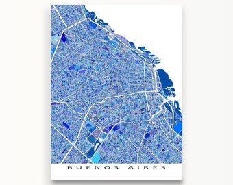 Buenos Aires Map, Buenos Aires Argentina South America, City Map Print, Travel Map