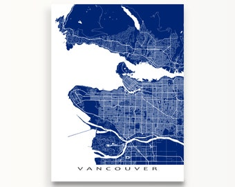 Vancouver Map Print, Vancouver, Canada, City Street Art