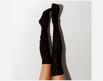 Black Herringbone Thigh High Socks, PM-093B