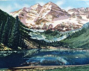 Maroon Peaks Postcard,Colorado Post Card,Vintage Post Card,Aspen Post Card,vintage Collectible,Unused Postcard,Travel Collectible,Vacation