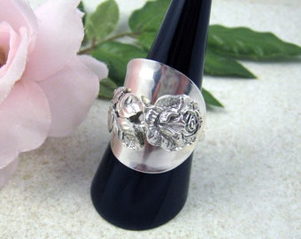 ROSE SPOON RING Floral ring, Upcycled jewellery, Solid Silver Nr Sterling, thumb ring, handmade from 1950s vintage spoon (Hildesheim Rose).