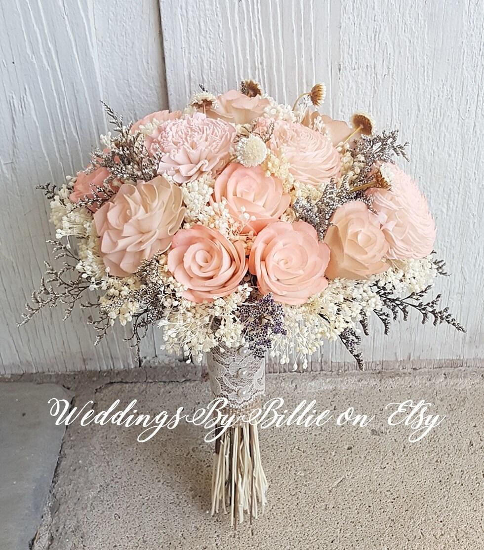 Blush Wedding Flowers: Peach Sola Wedding Bouquet Peach Blush Wedding Pale Peach