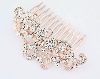 Rose Gold Rhinestone Comb, Bridal Hair Comb, Wedding Hair Piece, Rhinestone Bridal Hair Clip, Prom Bridesmaid Hair Accessory Jewelry