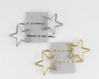 Gold or Silver set of 2 outline STAR bobby pins set hair small clip 2 7/8 inches long star bobby pin barrette set