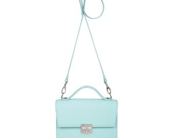 Leather Cross body Bag, Blue Leather Shoulder Bag, Women's Leather Crossbody Bag, Leather bag KF-1068