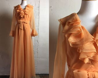 Vintage Orange Maxi Dress | Retro | 1960's | Vintage Bridesmaid | Vintage Wedding | Orange Ruffle