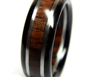 Stately Walnut and Ebony Wedding Ring, Engagement, Ring, Wood Jewelry, Wedding, Wedding Band, Alternative Engagement Ring, Him, Men, Mens