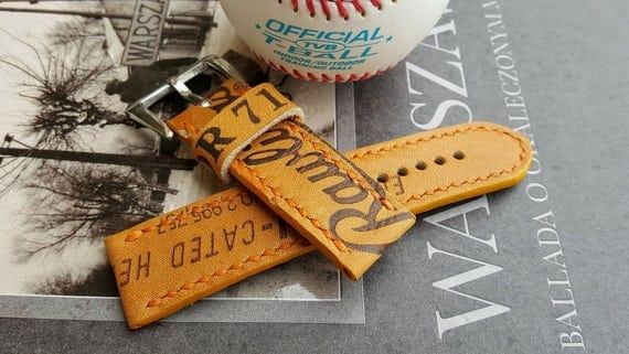 24 mm Handmade Rawlings Baseball Glove Watch Strap