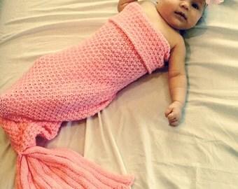 Rose Pink Baby Mermaid Tail Blanket, Swaddle Blanket, Baby Mermaid Outfit, Newborn Blanket, Baby Shower Gift, mermaid tail blanket for baby