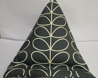Tablet bean bag stand. ipad, kindle, tablet. Orla Kiely  linear stem in grey cotton fabric. 2 size options.