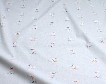 Fabric for children pure cotton poplin light grey goose bunny