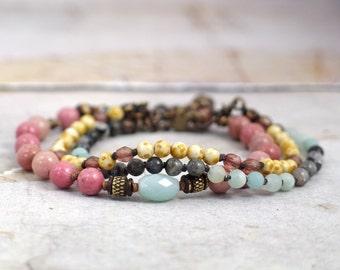 Gemstone bracelet set Rhodonite bracelet stack Labradorite jewelry Pastel jewelry Multistrand clasp bracelet Amazonite bracelet OOAK jewelry