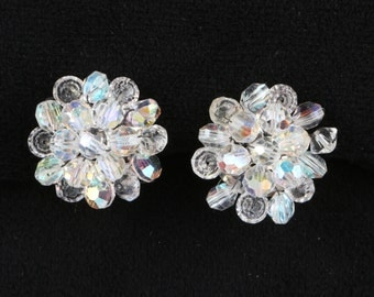 1950's Multiple Aurora Borealis Glass Crystal Cluster Beaded Button Clip on Earrings, Excellent Cond., 1' In Diameter, Silver Tone Findings