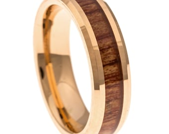 Men's Wedding Band, Rose Gold Hawaiian Koa Wood Inlay 6MM. Tungsten Carbide Men's Ring, Sizes 7-13