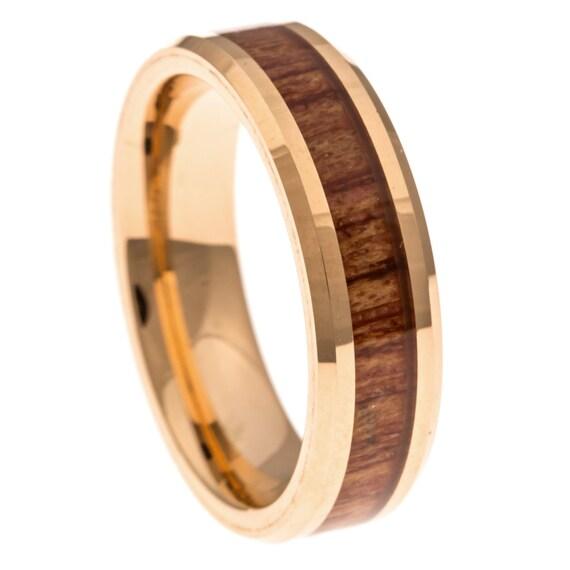 men 39 s wedding band rose gold hawaiian koa wood inlay 6mm