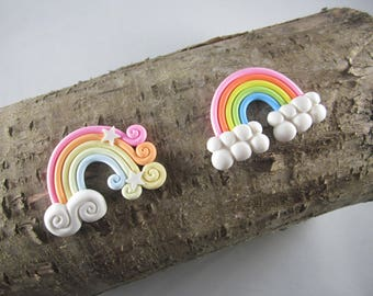 NEW rainbow polymer clay scrapbook hair bow center