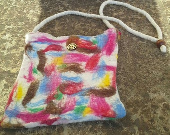 Multi coloured wet felted shoulder bag.