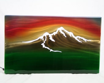 Mountain Sunset Painting Aluminum Art Panel, gift for her, mountain painting, gift for him, modern wall art, lobby wall art, office wall art
