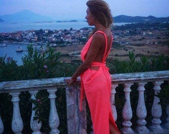 Dress/beach  dress/coral dress/romantic dress/neon dress