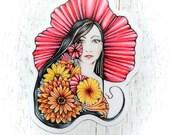 Art Sticker, sticker fine art, fine art sticker, art nouveau sticker, vinyl sticker, sticker illustration, custom sticker, woman sticker