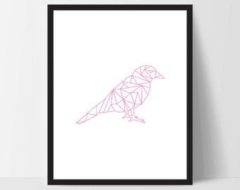 Pink Geometric Bird, Printable Wall Art, Wall Print, Boho Art, Wall Prints, Bird Prints, Printable Art, Printable, Sitting Bird, Art