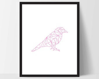 Pink Geometric Bird, Wall Art, Wall Print, Boho Art, Wall Prints, Bird Prints, Art, Sitting Bird, Art