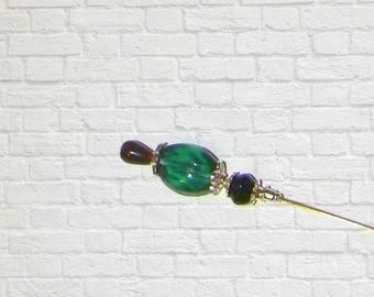 Hat Pin Victorian Blue Green Teal Edwardian Silver Vintage Style Glass Antique Inspired 6 Inch Steampunk Stick Lapel Pin With Prot