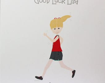 Lovely Personalised Handmade Good Luck Card. Running Girl or Boy design. Friends or Relations