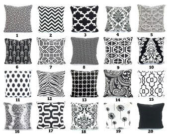 Black White Throw Pillow Covers, Cushions, Decorative Throw Pillows Chevron, Damask, Home Decor, Geometric One or More Mix & Match All Sizes
