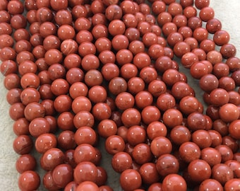 """8mm Smooth Natural Red Jasper Round/Ball Shape Beads with 1mm Holes - Sold by 15.5"""" Strands (Approximately 47 Beads) - High Quality Gemstone"""