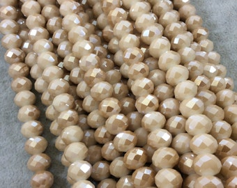"""8mm x 10mm AB Finish Faceted Opaque Champagne Chinese Crystal Rondelle Beads - Sold by 17"""" Strands (Approx. 57 Beads) - (CC810-74)"""
