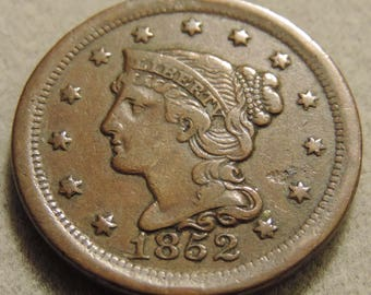1852 Braided Hair Large Cent - *FREE SHIPPING* - Beautiful Coin - Please See Pictures