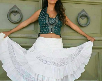 Cotton skirt with lace/gypsy skirt/bohemian chic/tribal fusion/dance/ATS/belly dancing/festival/long skirt/maxi/black/red/green/blue/white
