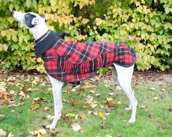 Greyhound Winter Coat, Dog Coat, Greyhound Coat,Wool Blanket Coat, Scottish Tartan, Custom Made, Polar Fleece Lined, Large Lurcher/Greyhound