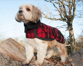 Ready Made Coat, Small Dog Coat, Winter Dog Coat, Polar Fleece Lined, Tartan Wool Dog Coat, Custom made, Tartan Wool, Scottish Wool Blanket