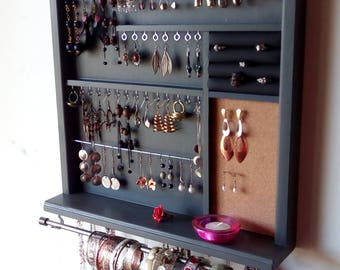 Jewelry organizer. earrings holder. jewelry display. necklace holder. Gray paint display. wall mounted jewelry storage. MULTIPLE COLORS.
