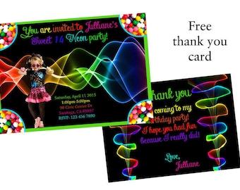 NEON birthday invitation, Glow in the dark party, teenage neon birthday invitations, Neon invitations, Color and fun invitations