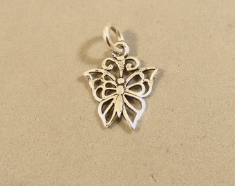 Sterling Silver Small Light Open BUTTERFLY Charm Pendant Garden Insect Filagree  .925 Sterling Silver New bf13