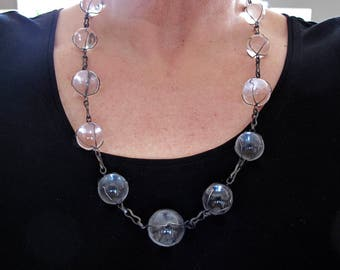 Vintage Rock Crystal Quartz Orbs Pools of Light Sterling Wire Wrapped Necklace Huge Orbs