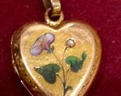 Victorian Enamel Heart Locket with RoseCut Diamond 14k Gold