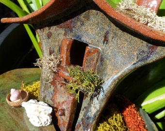 FAIRY HOUSE OOAK Ceramic pottery terracotta clay handmade off with fairies faery garden bring the fairies in crystal at door acorns