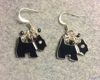 Black enamel and rhinestone Scottish terrier charm dangle earrings adorned with tiny black and clear Chinese crystal beads.