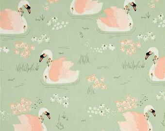 Organic Crib Sheet or Changing Pad | Girl Baby Bedding | Swan Crib Sheet | Peach Crib Bedding | Pink Mint Peach Swans | Standard or Mini