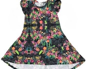 Floral Tshirt Dress • Floral Hi Low Dress • (Baby Tshirt Dress, Toddler Tshirt Dress, Girls Tshirt Dress,baby hi low dress, birthday outfit)