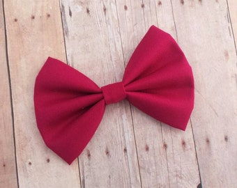 Deep Magenta Pink Fabric Hair Bow Clip or Headband / Dark Magenta Bow / Deep Pink Bow Clip / Solid Dark Magenta Pink Hair Bow / Bow Headband