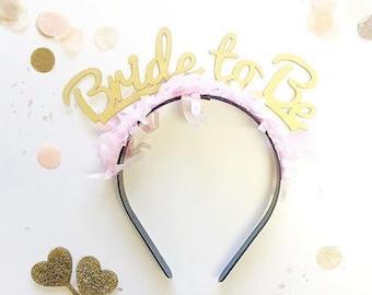 Gold Bride to be Headband