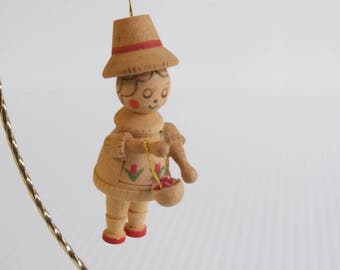 Vintage Christmas Ornament - Dutch Girl with Floral Apron and basket Christmas Ornament