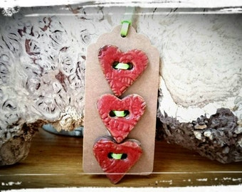 NEW: 3 large Red Ceramic Heart Buttons.  organic/natural designed/Embellishments (satin finish) 3cm approx.